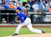 Zack Wheeler of the New York Mets delivers a pitch in the first inning against the Chicago Cubs on August 15 2014 at Citi Field in the Flushing...