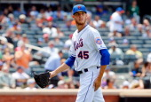Zack Wheeler of the New York Mets in action against the Philadelphia Phillies at Citi Field on July 30 2014 in the Flushing neighborhood of the...