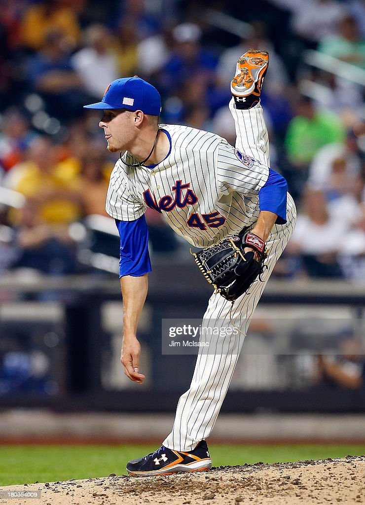 <a gi-track='captionPersonalityLinkClicked' href=/galleries/search?phrase=Zack+Wheeler&family=editorial&specificpeople=7091383 ng-click='$event.stopPropagation()'>Zack Wheeler</a> #45 of the New York Mets in action against the Washington Nationals at Citi Field on September 11, 2013 in the Flushing neighborhood of the Queens borough of New York City. The Nationals defeated the Mets 3-0.