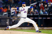 Zack Wheeler of the New York Mets in action against the Washington Nationals at Citi Field on September 13 2014 in the Flushing neighborhood of the...