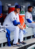 Zack Wheeler of the New York Mets looks on against the Philadelphia Phillies at Citi Field on July 30 2014 in the Flushing neighborhood of the Queens...