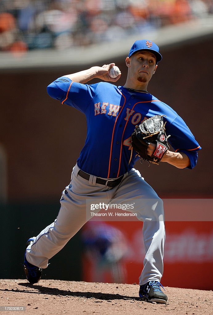 Zack Wheeler #45 of the New York Mets pitches against the San Francisco Giants at AT&T Park on July 10, 2013 in San Francisco, California.