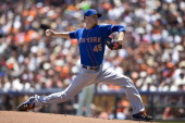 Zack Wheeler of the New York Mets pitches against the San Francisco Giants during the first inning at ATT Park on June 8 2014 in San Francisco...