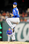 Zack Wheeler of the New York Mets pitches during game two of a baseball doubleheader against the Washington Nationals on September 25 2014 at...