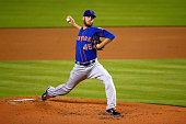 Zack Wheeler of the New York Mets pitches during the first inning of the game against the Miami Marlins at Marlins Park on September 1 2014 in Miami...