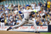 Zack Wheeler of the New York Mets pitches during the Interleague game against the Milwaukee Brewers at Miller Park on July 25 2014 in Milwaukee...