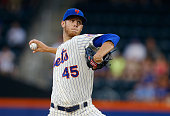 Zack Wheeler of the New York Mets pitches in the first inning against the Oakland Athletics at Citi Field on June 25 2014 in the Flushing...