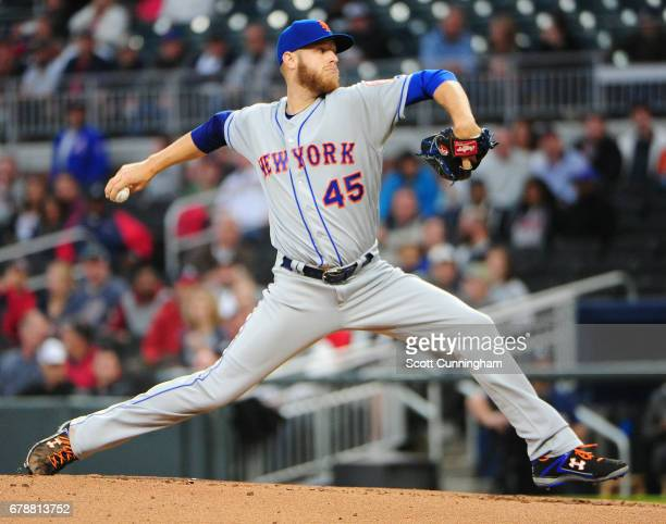 Zack Wheeler of the New York Mets throws a first inning pitch against the Atlanta Braves at SunTrust Park on May 4 2017 in Atlanta Georgia