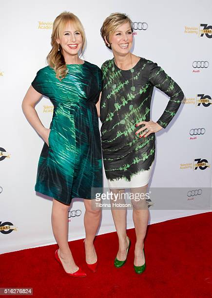Zackary Drucker and Melora Hardin attend the Television Academy's 'Transparent Anatomy of an Episode at The Theatre at Ace Hotel on March 17 2016 in...