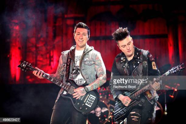 Zacky Vengeance and Synyster Gates from Avenged Sevenfold performs at Columbus Crew Stadium on May 17 2014 in Columbus Ohio