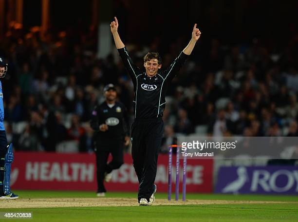 Zafa Arnsari of Surrey celebrates taking the wicket of Alex Blake of Kent during the Royal London OneDay Cup Quarter Final match between Surrey and...