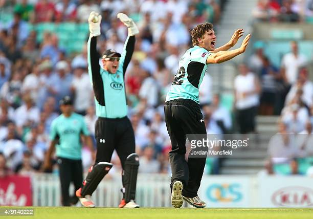 Zafar Ansari and Gary Wilson of Surrey appeal for the wicket of Hamish Marshall of Gloucestershire during the Natwest T20 Blast match between Surrey...