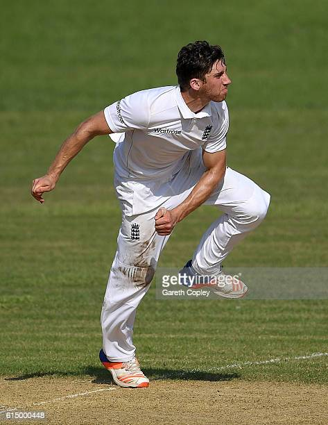 Zafar Ansari of England bowls during day one of the tour match between a Bangladesh Cricket Board XI and England at MA Aziz stadium on October 16...