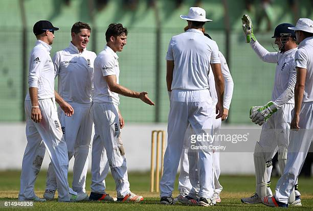 Zafar Ansari of England celebrates with teammates after dismissing Nazmul Hossain Shanto of BCB XI during day one of the tour match between a...