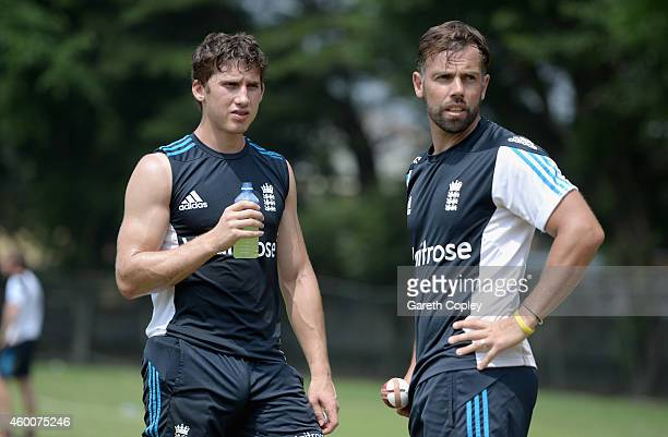 Zafar Ansari of England Performance Squad speask with coach Carl Hopkinson during a nets session at Colts Cricket Club on December 6 2014 in Colombo...