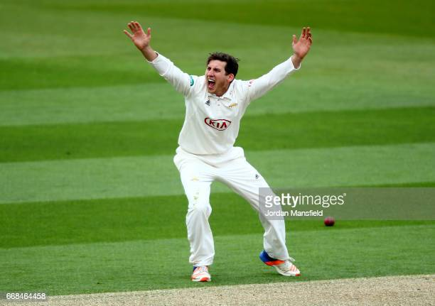 Zafar Ansari of Surrey appeals unsuccessfully during day one of the Specsavers County Championship Division One match between Surrey and Lancashire...