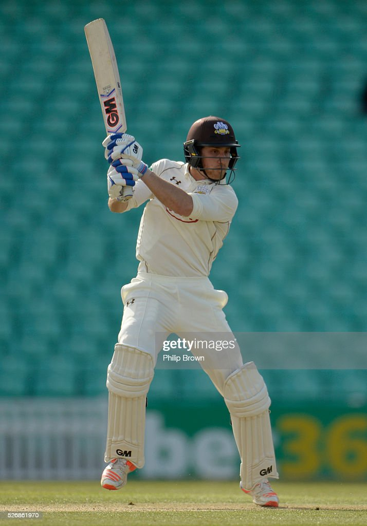 Zafar Ansari of Surrey bats during day one of the Specsavers County Championship Division One match between Surrey and Durham at the Kia Oval on May 1, 2016 in London, England.