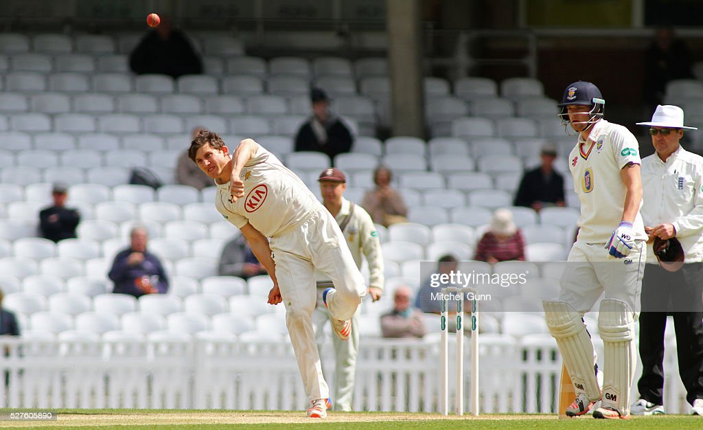 <a gi-track='captionPersonalityLinkClicked' href=/galleries/search?phrase=Zafar+Ansari&family=editorial&specificpeople=7132513 ng-click='$event.stopPropagation()'>Zafar Ansari</a> of Surrey bowling during the Specsavers County Championship Division One match between Surrey and Durham at the Kia Oval Cricket Ground, on May 03, 2016 in London, England.