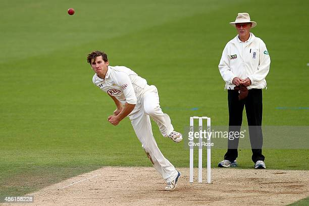 Zafar Ansari of Surrey bowls a delivery during the LV County Championship Division Two match between Surrey and Derbyshire at The Kia Oval on...