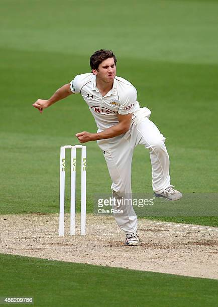 Zafar Ansari of Surrey bowls a delivery on day two of the LV County Championship Division Two match between Surrey and Derbyshire at The Kia Oval on...