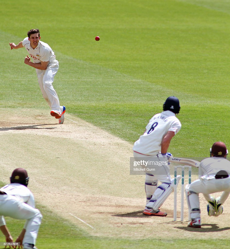 <a gi-track='captionPersonalityLinkClicked' href=/galleries/search?phrase=Zafar+Ansari&family=editorial&specificpeople=7132513 ng-click='$event.stopPropagation()'>Zafar Ansari</a> of Surrey bowls at Jack Burnham of Durham during the Specsavers County Championship Division One match between Surrey and Durham at the Kia Oval Cricket Ground, on May 03, 2016 in London, England.