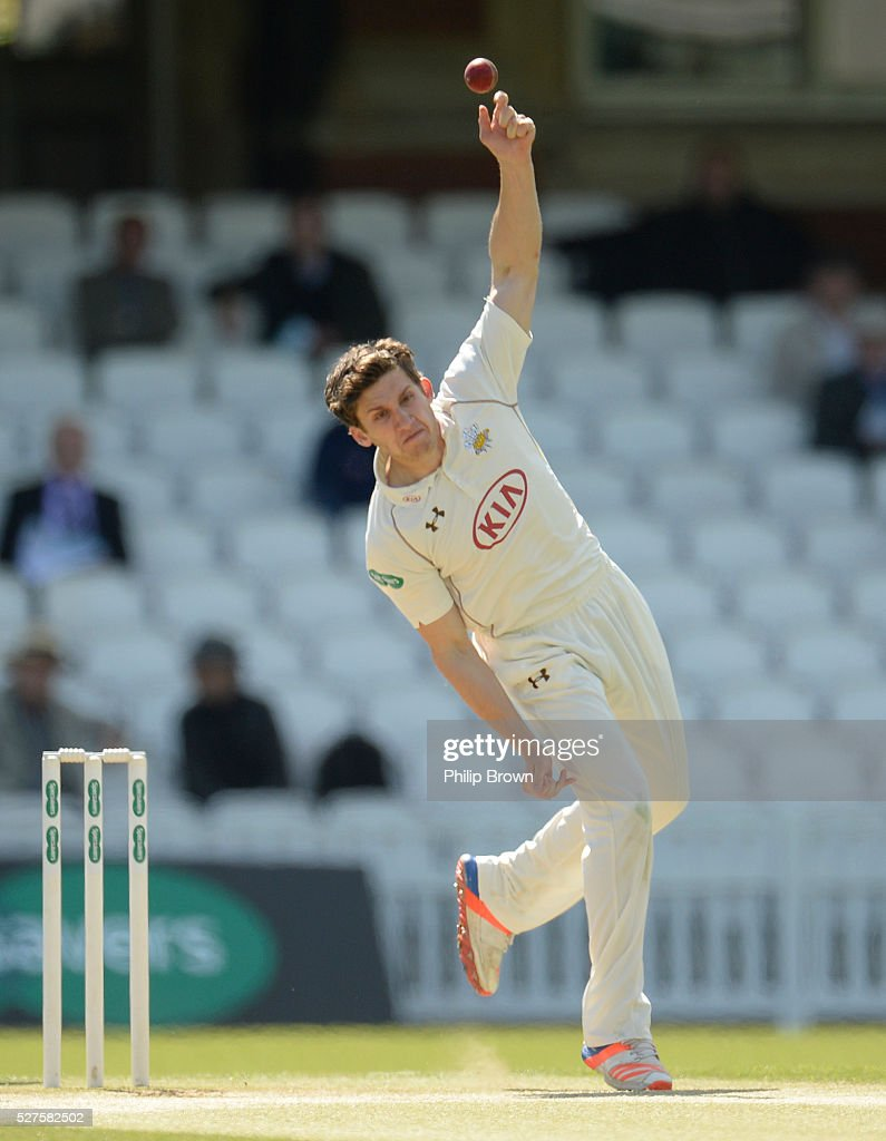 Zafar Ansari of Surrey bowls during day three of the Specsavers County Championship Division One match between Surrey and Durham at the Kia Oval on May 3, 2016 in London, England.