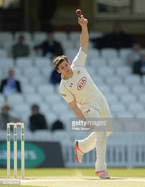 Zafar Ansari of Surrey bowls during day three of the Specsavers County Championship Division One match between Surrey and Durham at the Kia Oval on...
