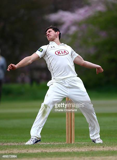 Zafar Ansari of Surrey bowls during day two of the friendly match between Oxford MCCU and Surrey at The Parks on April 13 2015 in Oxford England