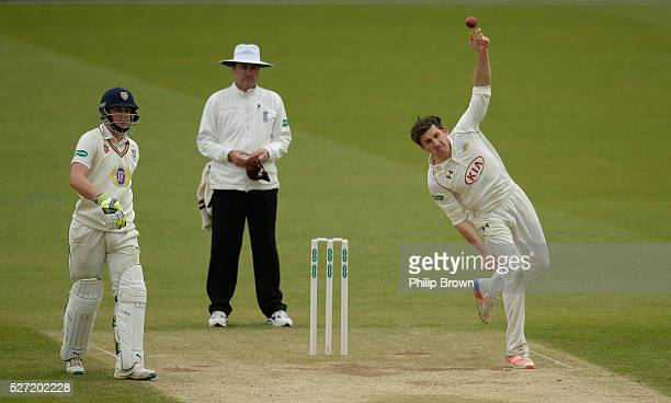 Zafar Ansari of Surrey bowls during day two of the Specsavers County Championship Division One match between Surrey and Durham at the Kia Oval on May...