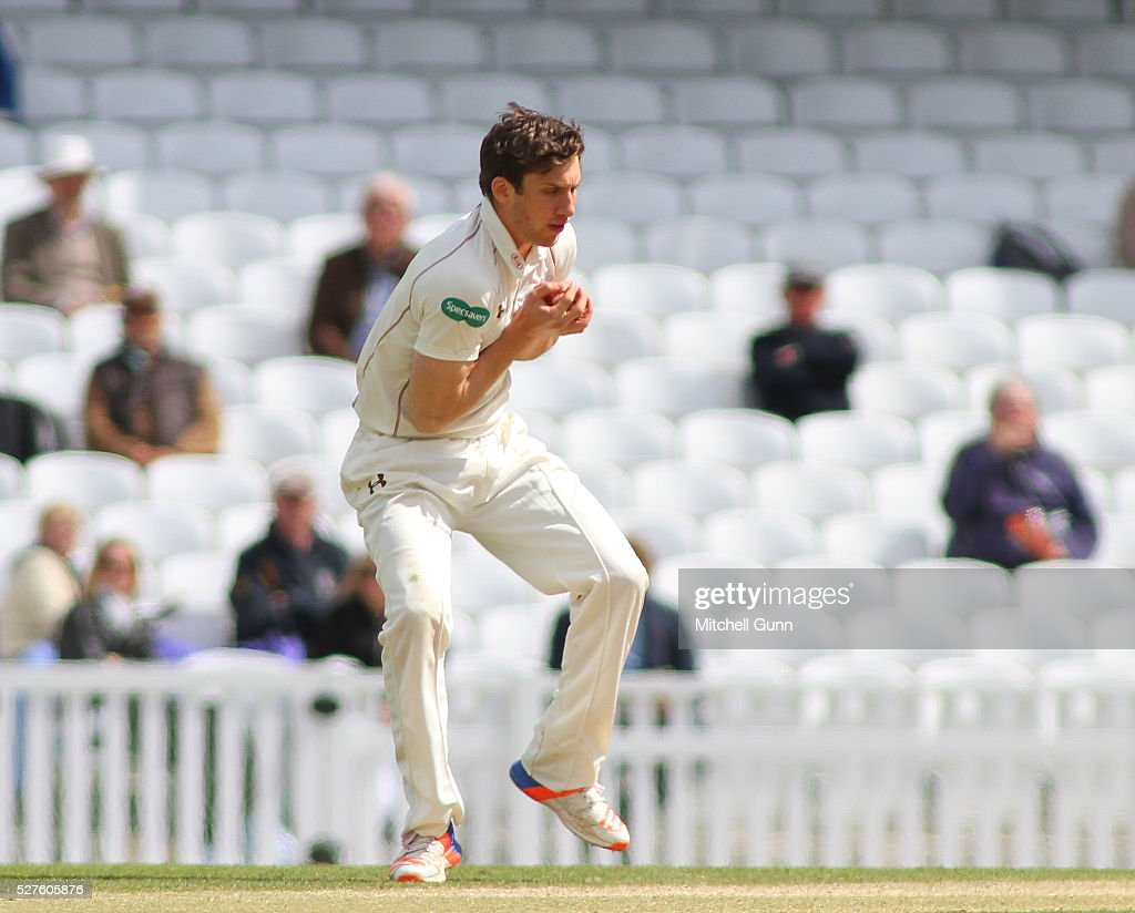 <a gi-track='captionPersonalityLinkClicked' href=/galleries/search?phrase=Zafar+Ansari&family=editorial&specificpeople=7132513 ng-click='$event.stopPropagation()'>Zafar Ansari</a> of Surrey catches the ball off his own bowling to dismiss Ben Stokes of Durham during the Specsavers County Championship Division One match between Surrey and Durham at the Kia Oval Cricket Ground, on May 03, 2016 in London, England.