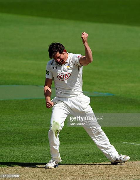 Zafar Ansari of Surrey celebrates taking the wicket of Jesse Ryder of Essex during day three of the LV County Championship Division Two match between...