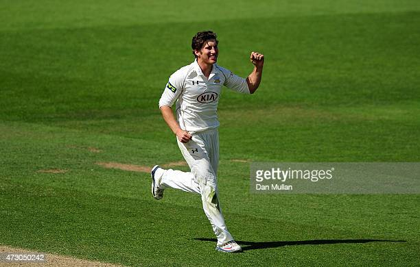 Zafar Ansari of Surrey celebrates taking the wicket of Ned Eckersley of Leicestershire during day three of the LV County Championship match between...