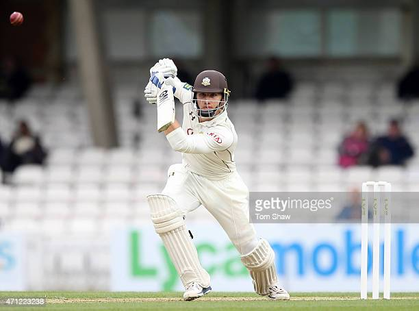 Zafar Ansari of Surrey hits out during day 1 of the LV= County Championship division 2 match between Surrey and Essex at The Kia Oval on April 26...