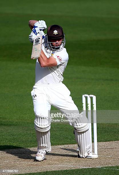 Zafar Ansari of Surrey hits out during day one of the LV County Championship Divison Two match between Surrey v Leicestershire at The Kia Oval on May...