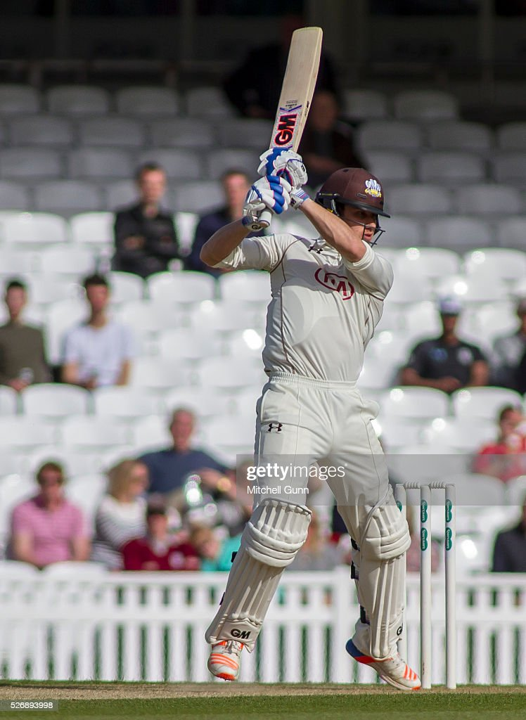 <a gi-track='captionPersonalityLinkClicked' href=/galleries/search?phrase=Zafar+Ansari&family=editorial&specificpeople=7132513 ng-click='$event.stopPropagation()'>Zafar Ansari</a> of Surrey hits out during the Specsavers County Championship Division One match between Surrey and Durham at the Kia Oval Cricket Ground, on May 01, 2016 in London, England.