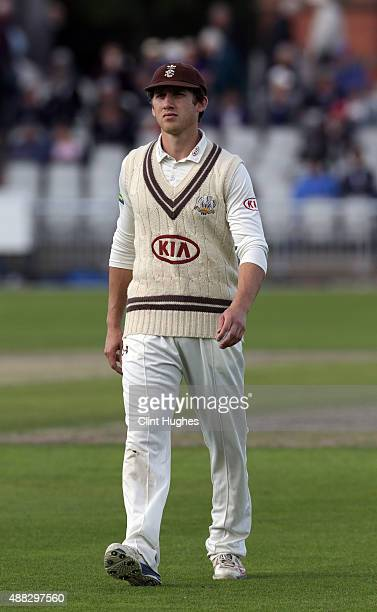 Zafar Ansari of Surrey leaves the field at tea during day two of the LV County Championship Division Two match between Lancashire and Surrey at...