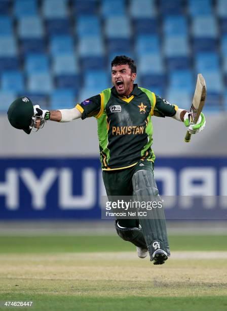 Zafar Gohar of Pakistan celebrates after winning the ICC U19 Cricket World Cup 2014 Semi Final match between England and Pakistan at the Dubai Sports...