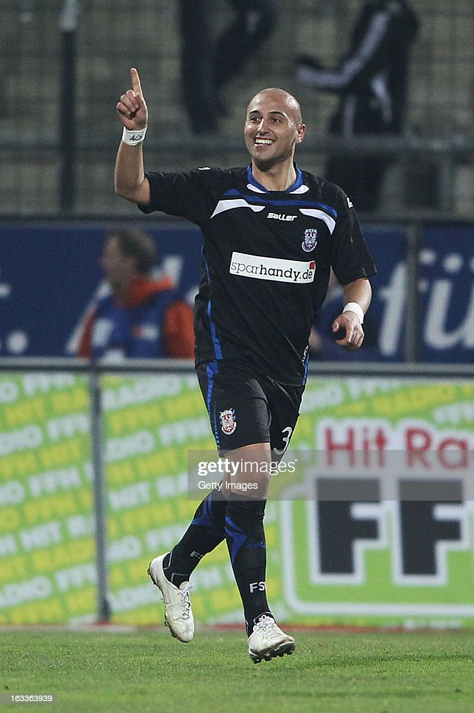 Zafer Yelen of Frankfurt celebrates after scoring their sixth goal during the Second Bundesliga match between FSV Frankfurt and VfR Aalen at Frankfurter Volksbank Stadium on March 8, 2013 in Frankfurt am Main, Germany.