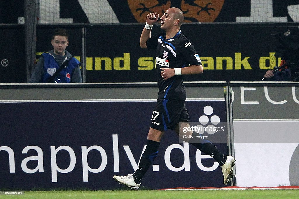 Zafer Yelen of Frankfurt celebrates his team's fifth goal during the Second Bundesliga match between FSV Frankfurt and VfR Aalen at Frankfurter Volksbank Stadium on March 8, 2013 in Frankfurt am Main, Germany.