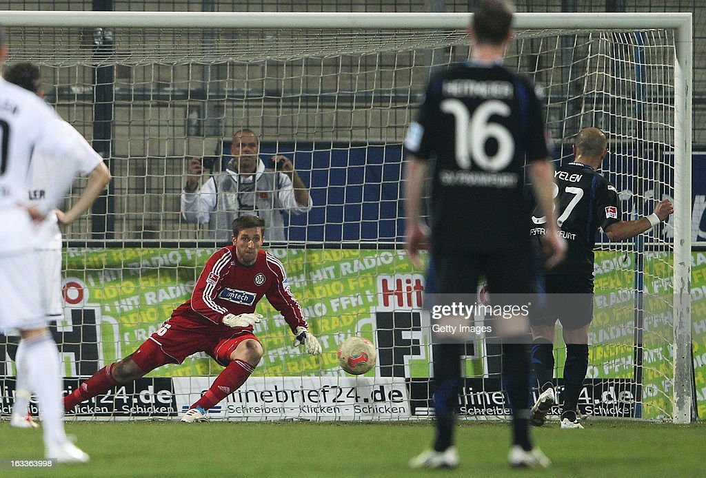 Zafer Yelen (R) of Frankfurt scores their sixth goal from the penalty spot during the Second Bundesliga match between FSV Frankfurt and VfR Aalen at Frankfurter Volksbank Stadium on March 8, 2013 in Frankfurt am Main, Germany.