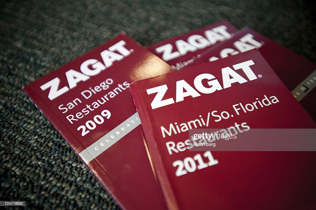Zagat Survey LLC books are arranged for a photograph at a book store in New York, U.S., on Thursday, Sept. 8, 2011. Google Inc. acquired Zagat Survey LLC, the review and ratings service known for its burgundy-colored restaurant guides, bringing it features aimed at local businesses and advertisers. Photographer: Paul Taggart/Bloomberg via Getty Images
