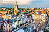 Aerial view at old city center of capital of Croatia, Zagreb, Europe.