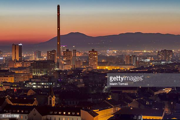 Zagreb dusk cityscape