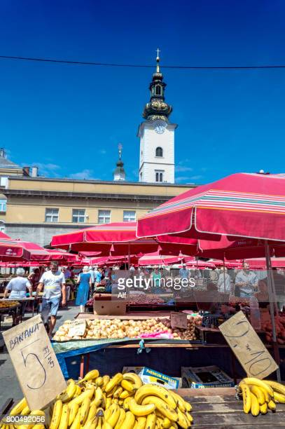 Zagreb's market Dolac and Santa Caterina's bell tower in background, Croatia