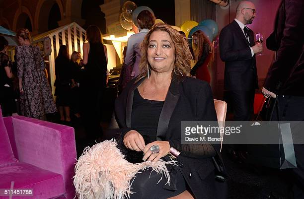 Zaha Hadid at The Naked Heart Foundation's Fabulous Fund Fair in London at Old Billingsgate Market on February 20 2016 in London England