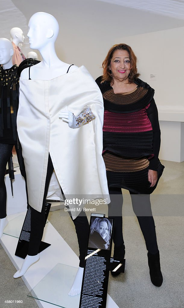 Zaha Hadid attends a private view of 'Women Fashion Power' at The Design Museum on October 28, 2014 in London, England.