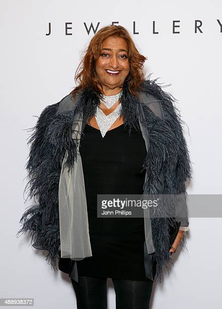 Zaha Hadid attends De Beer's Moments in Light at Claridge's Hotel on September 18 2015 in London England