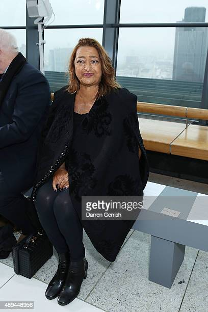 Zaha Hadid attends the Christopher Kane show during London Fashion Week Spring/Summer 2016 on September 21 2015 in London England