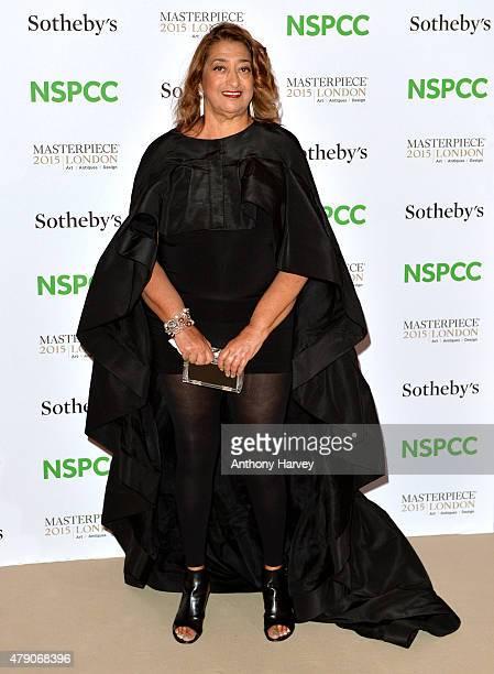 Zaha Hadid attends the NSPCC NeoRomantic Art Gala at Masterpiece London on June 30 2015 in London England
