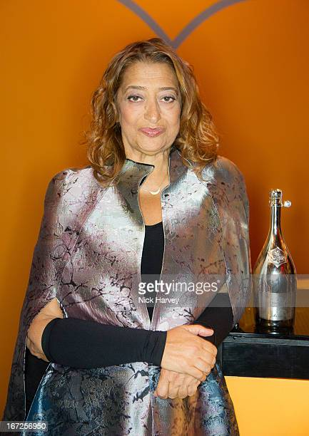 Zaha Hadid attends the Veuve Clicquot Business Woman of the Year award at Claridges Hotel on April 22 2013 in London England
